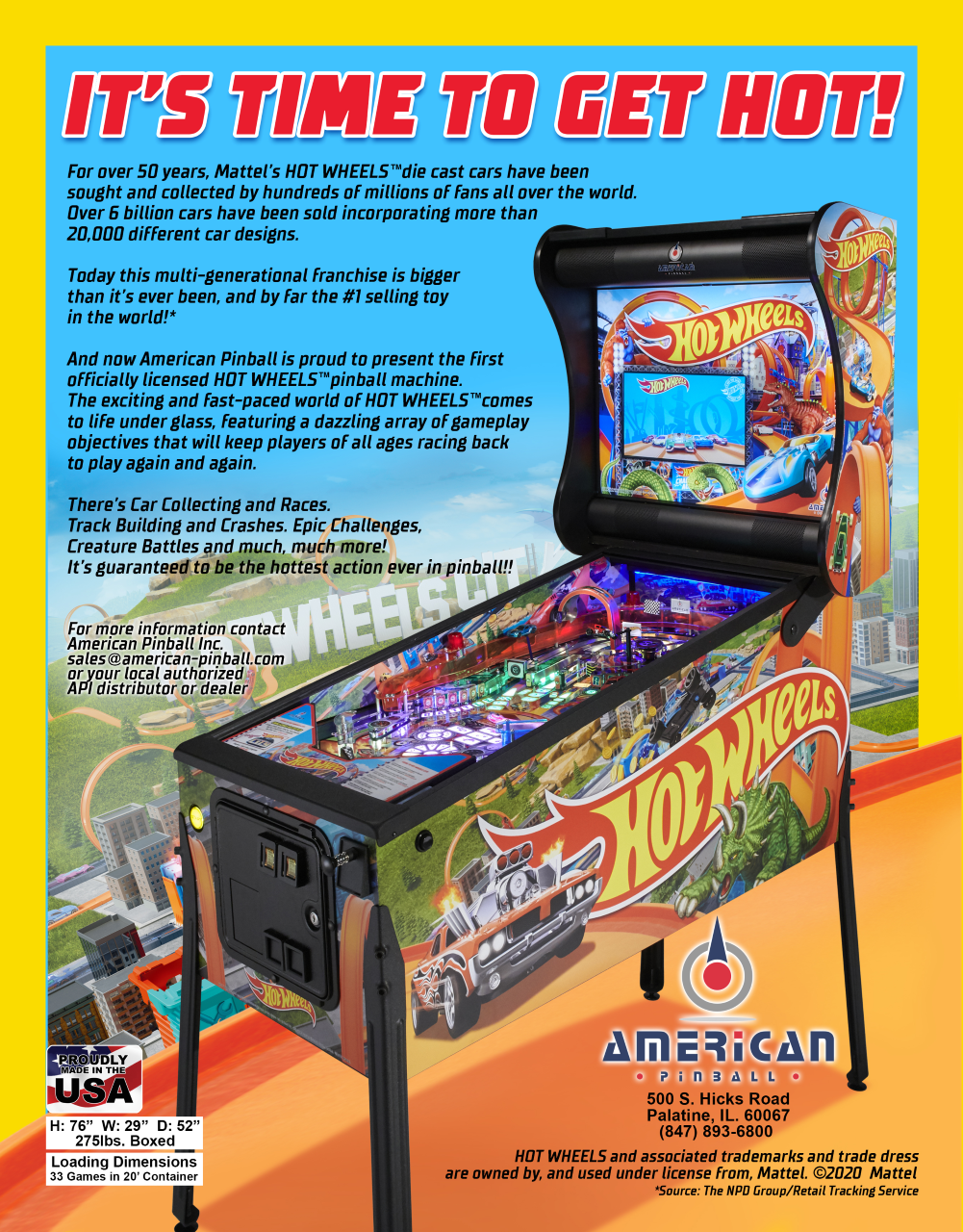 CHALLENGE ACCEPTED!  AMERICAN PINBALL TURNS UP THE HEAT WITH INTRODUCTION OF HOT WHEELS™